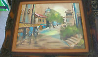 VINTAGE FRAMED OIL PAINTING ON CANVAS EUROPEAN STREET SCENE by WEBSTER