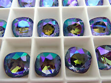 4 Tanzanite Glacier Blue Swarovski Crystal Square Cushion Cut  Stone 4470 12mm