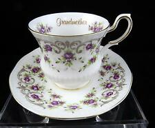 """VINTAGE QUEENS ROSINA ENGLAND GRANDMOTHER PURPLE FLORAL 2 7/8"""" CUP AND SAUCER"""