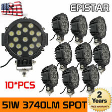 10X 7inch 51W Spot LED Light Off-road Round Work Roof Lamp Truck 4X4WD ATV Black