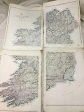 Antique Map of Ireland Irish Country Eire Old Hand Coloured 19th Century LARGE