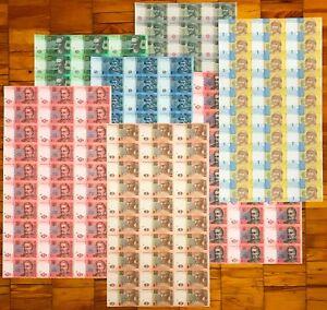 RARE, Ukraine, Complete SET of (1/2 Half) UNCUT SHEETS, 1 - 20 Hryven, P 116-120