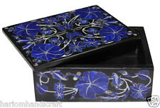 "4""x3""x2"" Black Marble Jewelry Box Lapis Lazuli Precious Inlay Decor Gifts H2374"