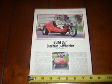 URBA TRIKE ELECTRIC VEHICLE 3 WHEELER EV - ORIGINAL 1978 ARTICLE