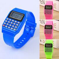 Vintage Kids Digital Display Calculator Watch  Data Bank Sports Wristwatch Gift