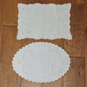2 vintage white linen doilies with cutwork, embroidery & scalloped edge