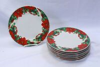 """Gibson Poinsettia Holly Ribbons China Dinner Plates 10.25"""" Gold Trim Lot of 8"""
