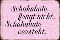 Chocolat Comprend Panneau Métallique Plaque Voûté Métal Étain Signer 20 X 30 CM