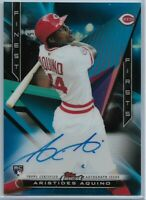 2020 Topps Finest Firsts Aristides Aquino Blue Refractor Rookie Auto #'d 023/150