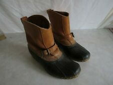 L.L. Bean Women's Winter Rain Snow Boots Duck Pull On Brown Leather  Size 12?