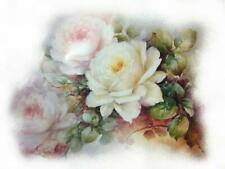 Fired Decals - Miniature for Half Dolls and other small items - White Pink Rose