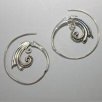 Creolen Durchzieher Ohrringe Silber 925  Ohr Spirale Vintage Hippie Schmuck  ETS