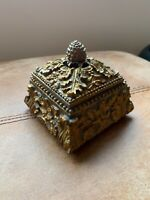 Beautiful Rococo Style Gold Trinket Storage Ashes Jewellery Decorative Box
