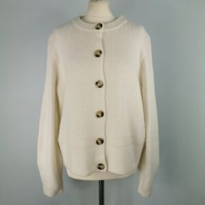 M&S Size 18 Ivory Cream Round Neck Knitted Cardigan Jumper NEW BNWT Womens
