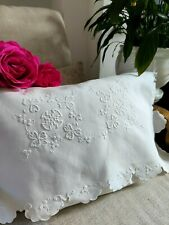 More details for vintage hand embroidered irish linen cushion cover/ nightdress case ~ white work