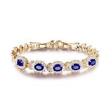 Lady Gold Filled Vintage Blue Swarovski Crystal Bling Chain Bracelet Jewellery
