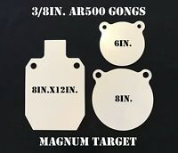 "AR500 Steel Target Gong 3pc Set 6"" 8"" and 8""X12"" IDPA Silhouette MADE IN USA!"