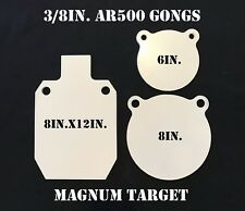 "3/8"" AR500 Steel Target Gong 3pc Set 6"" 8"" and 8""X12"" IDPA Silhouette"