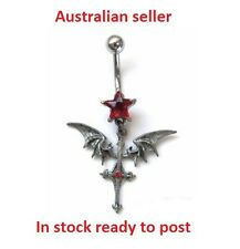 CROSS WITH BAT WINGS AND RED GEM BELLY BAR 316L SURGICAL STEEL NAVEL RING