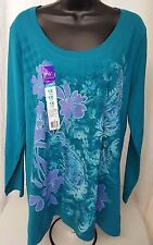 Just My Size NWT Woman's Plus Bluish Green/Purple Floral Shirt Size 1X (16W)