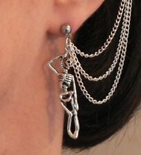 Skeleton 3-chain Ear Cuff & Stud Earring Gothic Horror Halloween Silver Gift