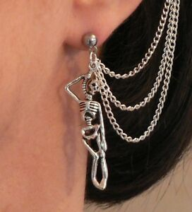 Skeleton 3-chain Ear Cuff Stainless Steel Stud Earring Cosplay Goth Pirate Gift