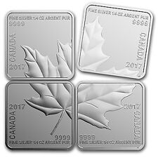 2017 Canada 1 oz Reverse Proof Silver Maple Leaf Quartet - SKU #104108