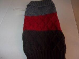 gray Nordic COLORBLOCK Dog Sweater XXS L new pet Bond & Co Large XXSmall red