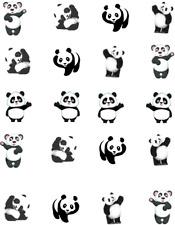 Waving Panda Waterslide Nail Decals / Nail art
