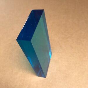 blue translucent plastic block