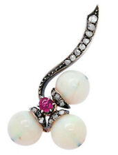 1.40cts Rose Cut Diamond Pearl Ruby Antique Victorian Look 925 Silver Brooch Pin