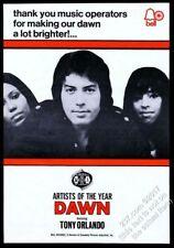 1971 Tony Orlando and Dawn photo Bell Records trade print ad