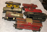 7 Vintage Marx Train Car Lot For Parts/Restore Tender Caboose Tank Metal