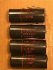 NOS Vintage Sprague Black Beauty .5 uf 600v Capacitors 161P Caps TEST GREAT