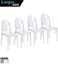 Set Of 4 Modern Transparent Plastic Side Accent Acrylic Dining Armless With Back