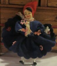 "4 1/2"" 1930's Italian Fully Jointed Felt Cloth Doll"