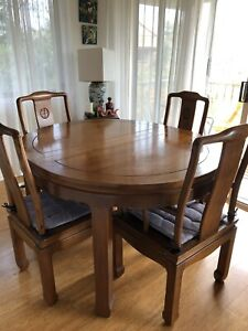 Solid teak wood table and 5 Chairs
