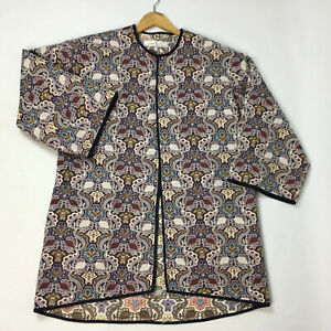 ZARA Jacquard Jacket Duster Eur M Edge To Edge Blue Multi Pockets Tapestry Style