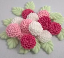 PINK, WHITE MUMS Edible Sugar Pate Flowers Cup Cake Decorations Toppers Leaves