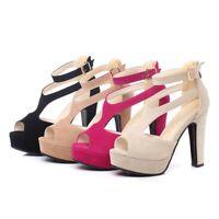 Womens High Heels Ankle Strap Sandals Peep Toe Clubwear Fashion Platform Shoes
