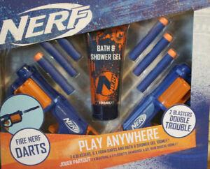 x2 Nerf Play Guns, Bath Shower 100ml Gel x6 Foam Darts Bullets Gift Set Birthday