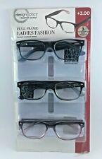 Design Optics By Foster Grant Full Frame Ladies Reading Glasses- 3 PACK  +3.00