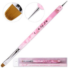 Ivy L French Manicure Gel Brush and Dotting Tool with Pink Marble Handle Size 8