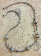 Fine Sterling Silver 925 Pave Stone Ball Snake Cable Wheat Link Necklace