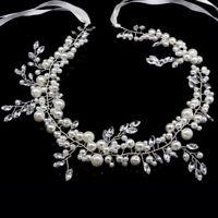 Handmade Pearl Vintage Style Crystal Bridal Wedding Prom Headband Headpiece