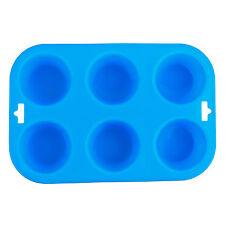6 Taza de Silicona Bun/Muffin Grande-Bandeja De Estaño Antiadherente Hornear pudding mold Azul