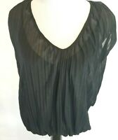 Zara Collection Womens Size Medium Blouse Shirt Pleated Black Built in Cami