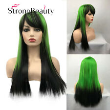 Cosplay Green Synthetic Wig Fiber Hair Long Straight Wig Ombre Black Green Wigs