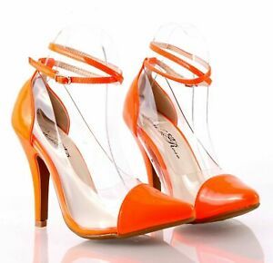 """Orange Color Sexy Pointed Toe Pump Prom Mary Janes Womens 4.5"""" Heels Size 6.5"""