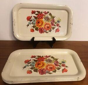 Vintage Set Of 4 Metal Serving Trays Multi Roses Cream Color 60's